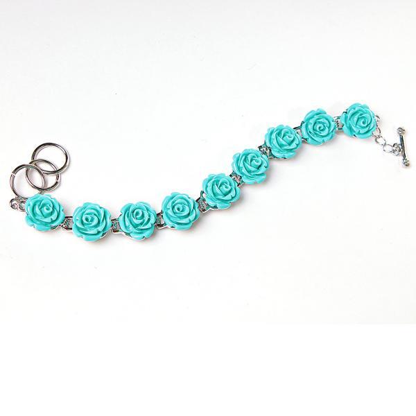 Браслет розы голубые полимерная глина застежка Тогл
