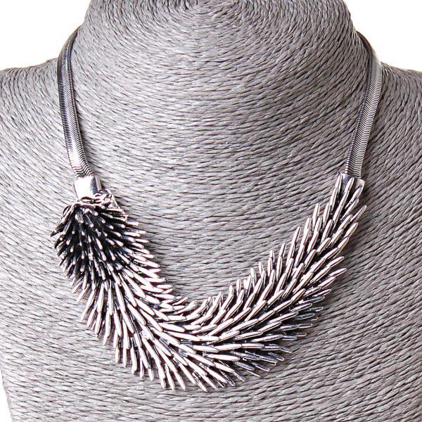 [150/30 мм] Ожерелье Серебрянный ежик 1 огромная подвеска сталь страза Silver