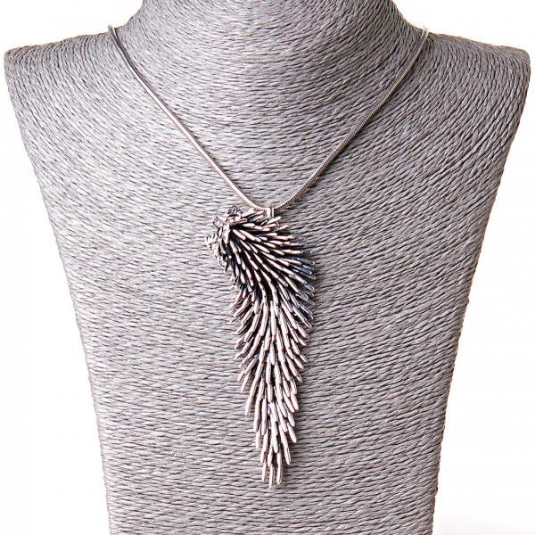 [100/30 мм] Ожерелье Серебрянный ежик 2 огромная подвеска сталь страза Silver