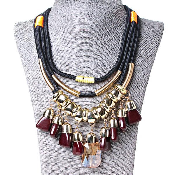 [15-40 мм.] Ожерелье на черных канатах с оранжевыми и желтыми вставками, подвески металл Gold и чешское стекло бардовый и желтый цвет