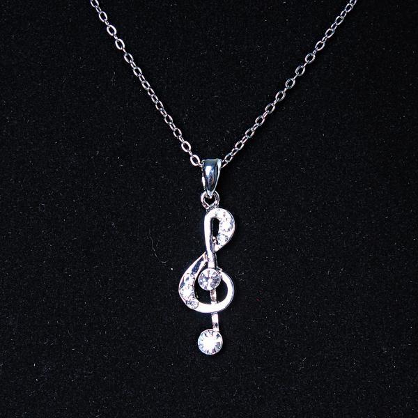 [30х10 мм.] Кулон подвеска на цепочке Скрипичный Ключ, металл Silver со стразами