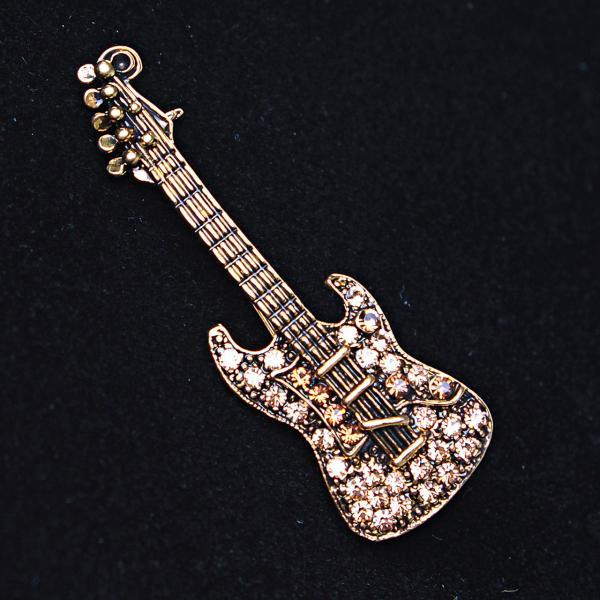 [55Х30 мм.] Брошь Гитара, металл Gold, золотистые и белые стразы