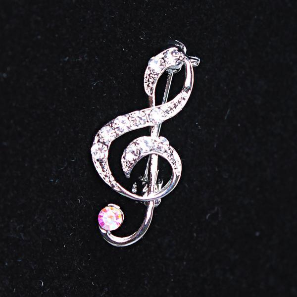 [25Х10 мм.] Брошь Скрипичный Ключ, металл Silver и стразы