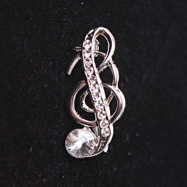 [30Х10 мм.] Брошь Скрипичный Ключ с завитушкой, металл Silver и стразы