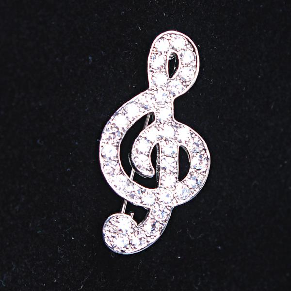 [40Х20 мм.] Брошь Скрипичный Ключ, белые стразы по всему изделию и светлый металл