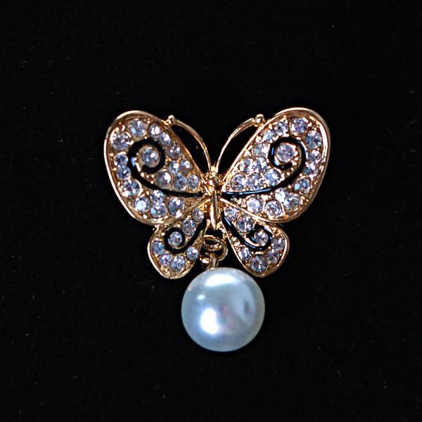 [30/25 мм.] Брошь  Бабочка со светлой жемчужиной-подвеской и стразами, металл Gold