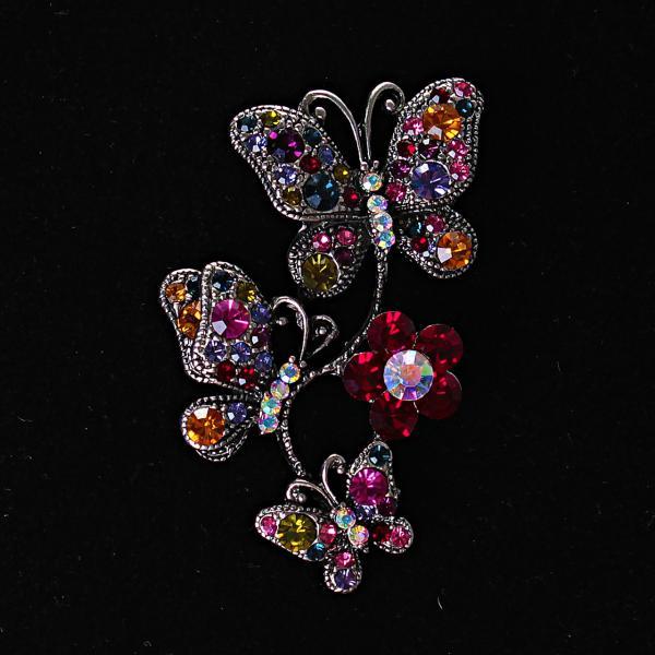 [60/40 мм.] Яркая Брошь Бабочки, сидящие на цветке, разноцветные стразы и металл под капельное серебро