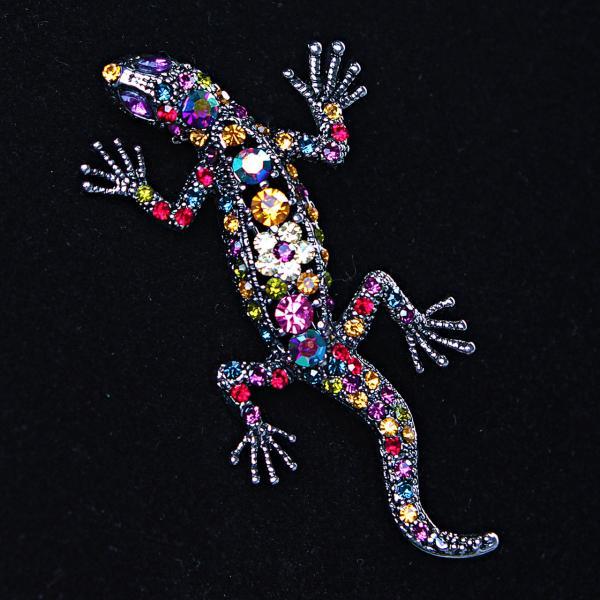[70/35 мм.] Брошь  Саламандра с яркими стразами, металл под капельное серебро