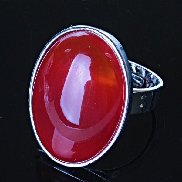 Кольцо Сердолик овал гладкая оправа 2,7*2,1см без р-р