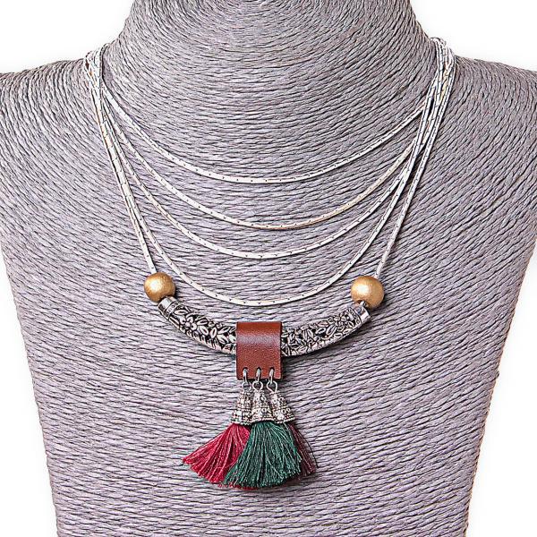 Ожерелье Навахо, декор - бусины, подвески металл и макраме