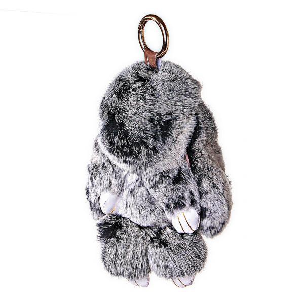 Брелок мех Кролик Серый 18 см