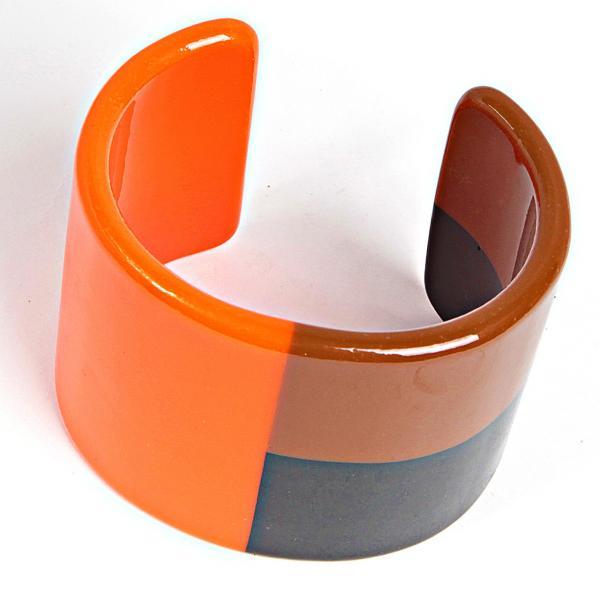 [6см] Браслет женский, разомкнутый обруч, гладкий, минималистичный, оранжевый, коричневый, серый