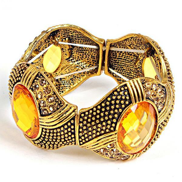 """[6см] Браслет """"Глаза Дракона"""", женский, украшен четырьмя большими круглыми камнями медового цвета"""