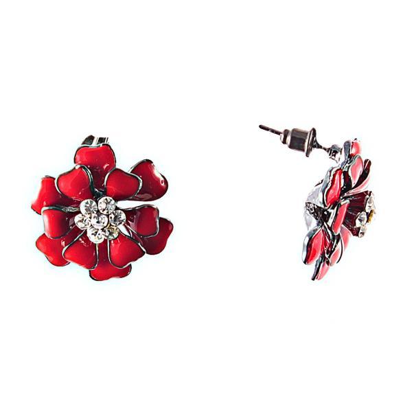 """Серьги-пусеты """"Красный цветок"""" \эмаль\металл серебристый\стразики\22mm к"""