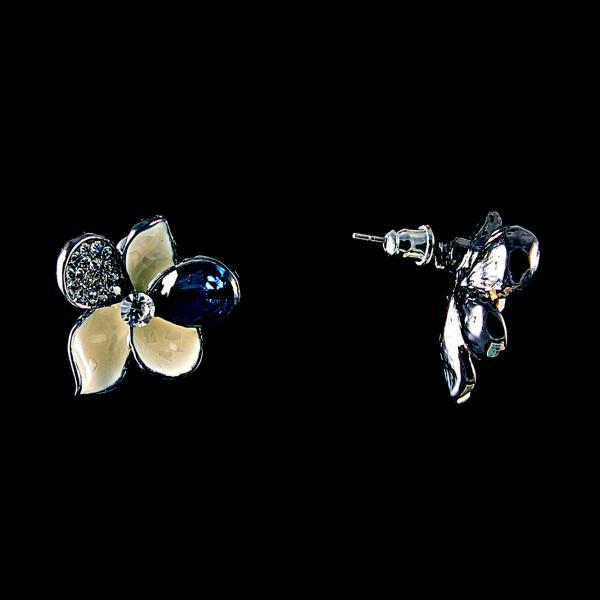 """Серьги пуссеты Цветочки эмаль синий кристалл стразы металл под """"серебро"""" \20*25мм"""