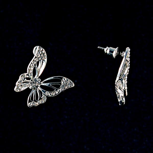 Серьги-пусеты Бабочки, белые стразы, металл под серебро, 2см