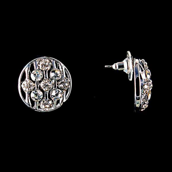 Серьги-пусеты Круг с белыми стразами, металл под серебро,2см