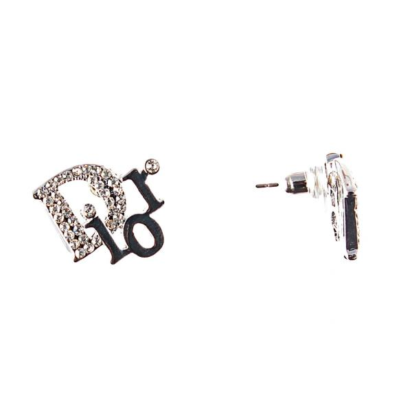 Серьги-пусты Dior с белыми стразами, металл под серебро, 2см