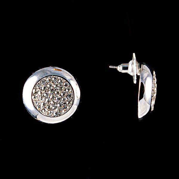 Серьги-пусеты Круг, белые стразы, металл под серебро, 2см