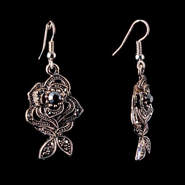Серьги-подвески крупные Розы,под капельное серебро со стразами, 45*20