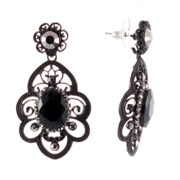 Серьги-пусеты с подвеской из черного металла с темными и светлыми стразами,70мм