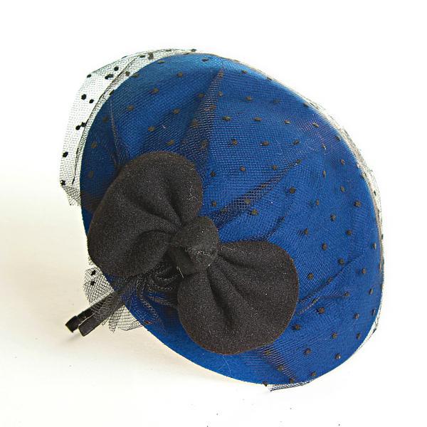 Обруч на голову шляпка синяя с бантом и вуалью, 12см