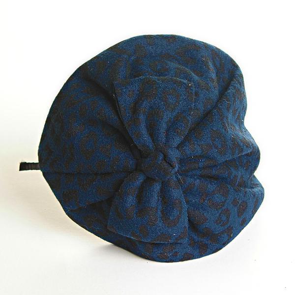 Обруч на голову шляпка синяя с леопардовым принтом и бантом, 12см