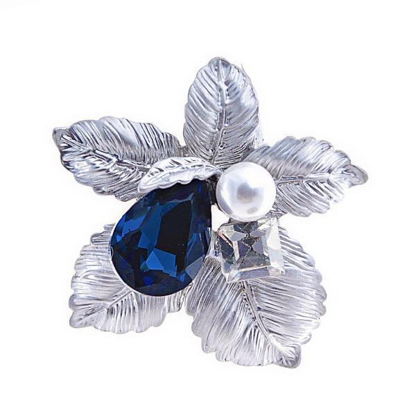 """Брошь синий кристалл Плод цвет металла """"светлое серебро"""" 4,5см"""