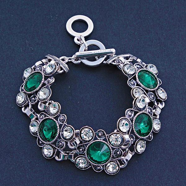 Браслет с зелеными кристаллами L-20 см