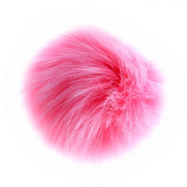 Брелок Бумбон нат. мех на резинке   розовый