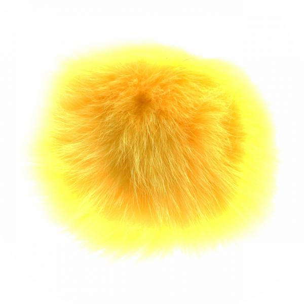 Брелок Бумбон нат. мех на резинке   желтый