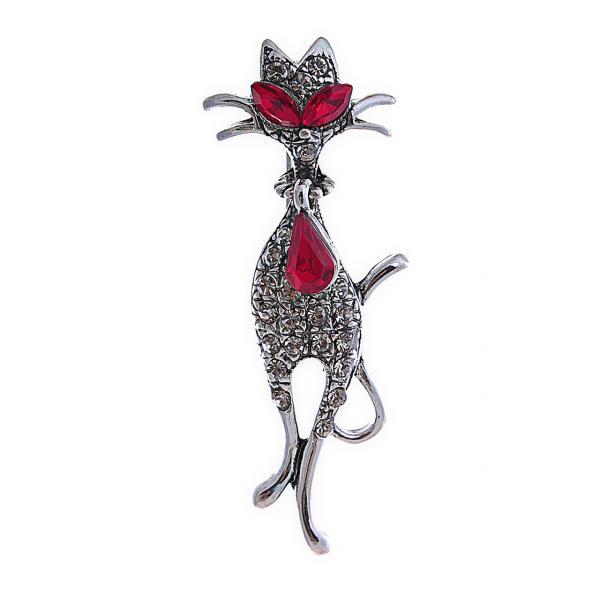 Брошь Кот с красными и белыми стразами,металл под серебро,53мм