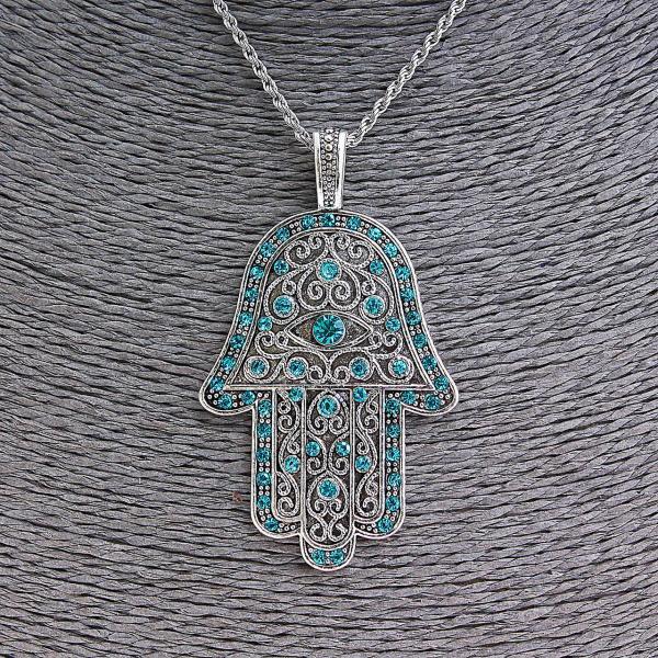 Кулон на цепочке Хамса с голубыми стразами, металл под серебро, 70мм