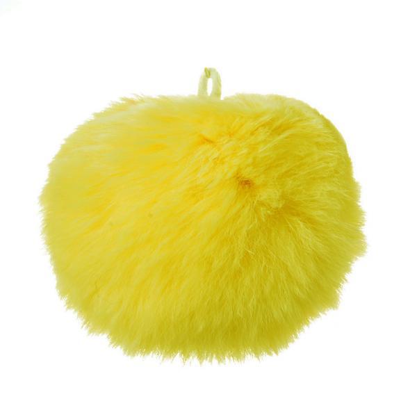 Брелок бубон  на резинке нат. мех 5 см желтый