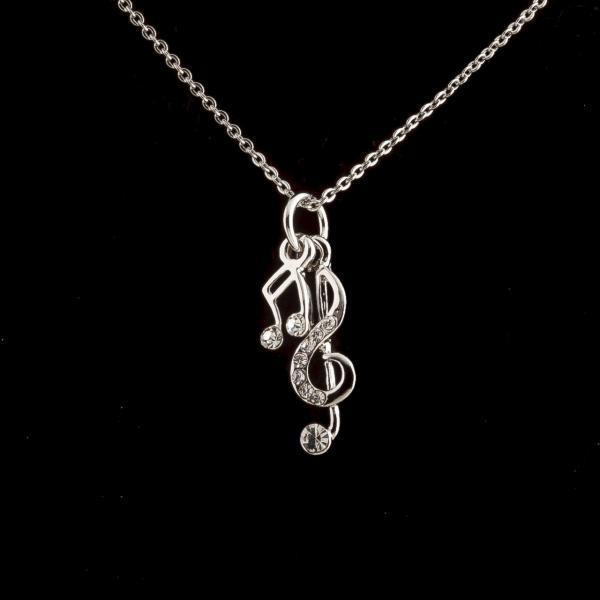 Кулон на цепочке Нота и Скрипичный ключ цвет металла серебро  р-р подвески Ø 1,4 см