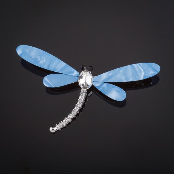 Брошь Стрекоза крылья голубой перламутр 6х4см