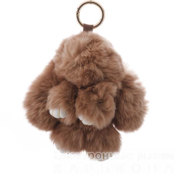 """Брелок на сумку Кролик """"молочный шоколад""""  (р-р 15 см ) нат. мех кольцо-карабин - Брелоки на рынке Барабашова"""