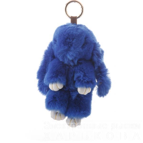 Брелок на сумку Кролик светло синий  (р-р 18 см ) нат. мех кольцо-карабин - Брелоки на рынке Барабашова