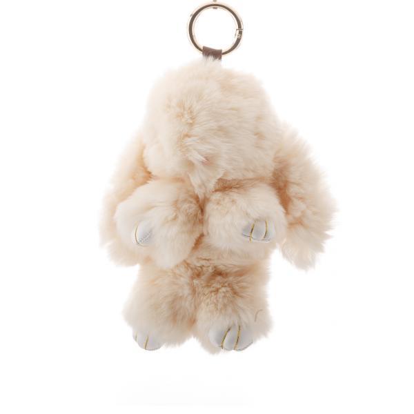 Брелок на сумку Кролик  бежевый (р-р 18 см ) нат. мех кольцо-карабин