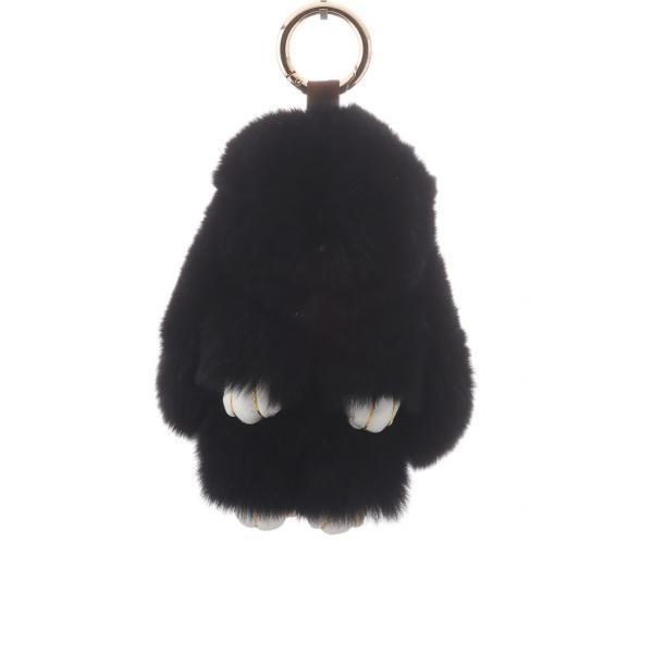 Брелок на сумку Кролик черный  (р-р 15  см ) нат. мех кольцо-карабин
