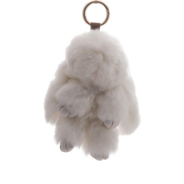 Брелок на сумку Кролик белый  (р-р 15 см ) нат. мех кольцо-карабин