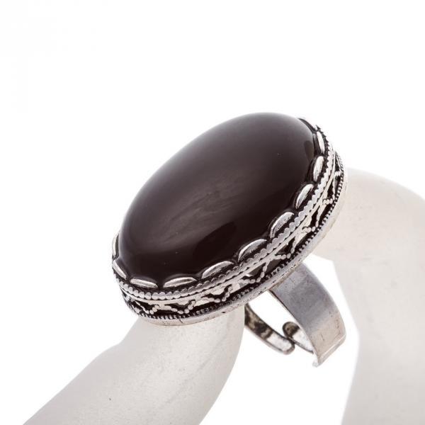 """Кольцо Агат оправа  """"зубчик"""" """"Б"""" овальный  камень 2,8*2,1 см без р-р"""