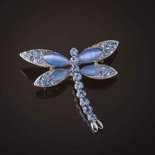 Брошь Стрекоза серебристая  голубые камни  4см