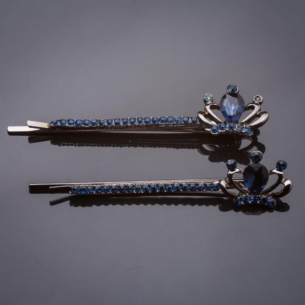 "Невидимки пара Корона синий кристалл синие стразы под ""серебро"" L-6см d-1,5cm"