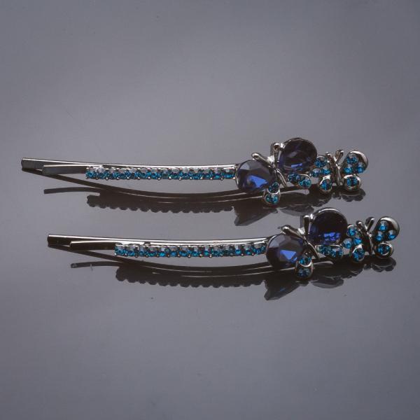 "Невидимки пара Две Бабочки синий кристалл синие стразы под "" серебро"" L-6см d-2cm"