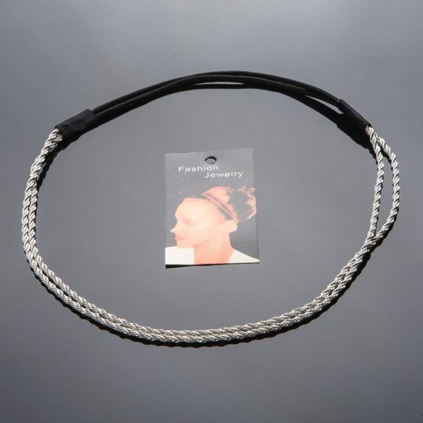 Обруч на резинке Жгут металл (серебро)