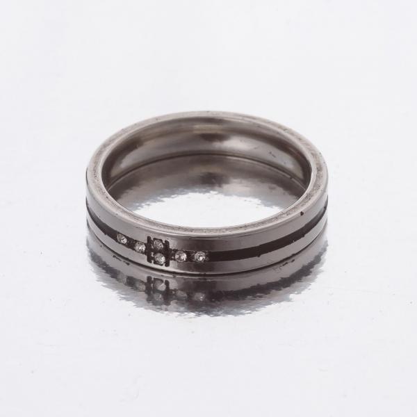 """Кольцо """"Обручка"""" черная полоска р-р 16-20 двойное """"серебро""""  h-4мм 20"""