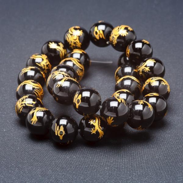 Бусины из натурального камня на нитке Золотой дракон черный Агат (пресс) 14 мм