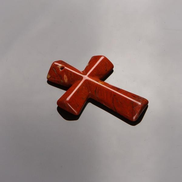 Кулон Крест каменный Яшма красная   4,5х3см