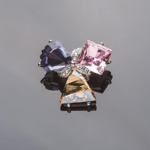 """Брошь серебристая """"Акварель"""" розовый, фиолетовый и золотистый кристаллы d-3см"""
